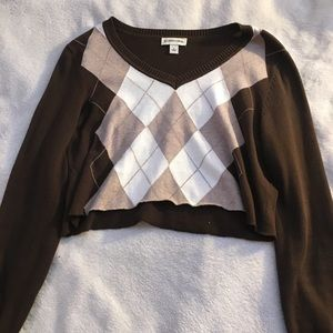 Argyle cropped brown sweater